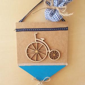 Μπομπονιέρα καδράκι με ξύλινο ποδήλατο