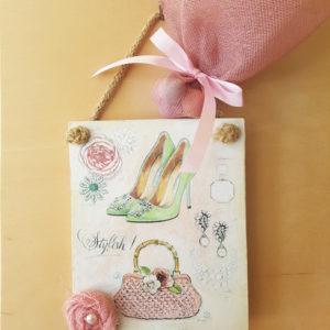 Μπομπονιέρα καδράκι λουλούδι τσάντα