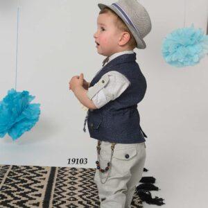 Βαπτιστικό κουστούμι τουΐντ μπλε παντελόνι