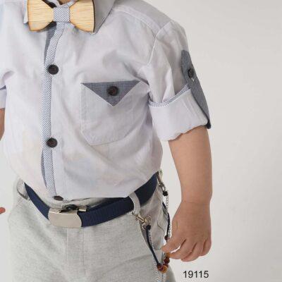 Βαπτιστικό κουστούμι παρκά τουΐντ μπλε-γκρι