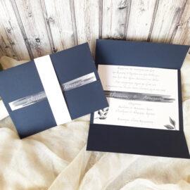 Προσκλητήριο γάμου μπλε ναυτικό