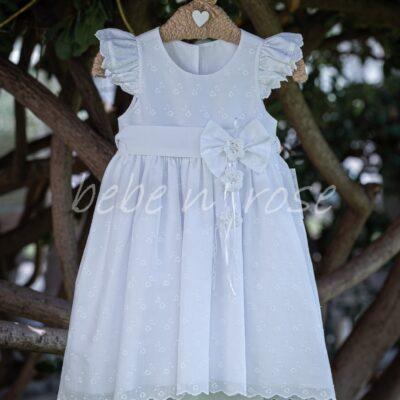 Βαπτιστικό φόρεμα με πλεκτά λουλούδια