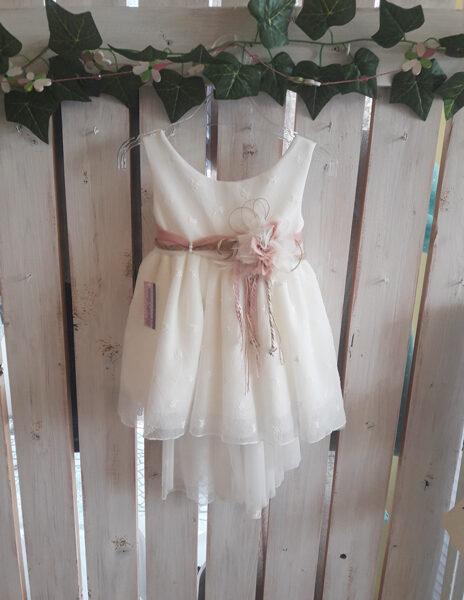Φόρεμα βάπτισης ροζ λουλούδι