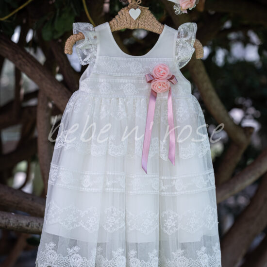 Βαπτιστικό φόρεμα σατέν τριαντάφυλλα