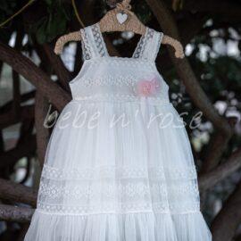 Βαπτιστικό φόρεμα με ροζ λουλούδια