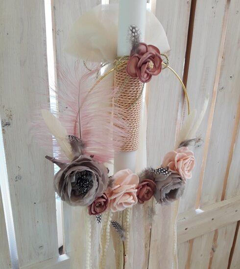 Λαμπάδα βάπτισης ονειροπαγίδα με λουλούδια