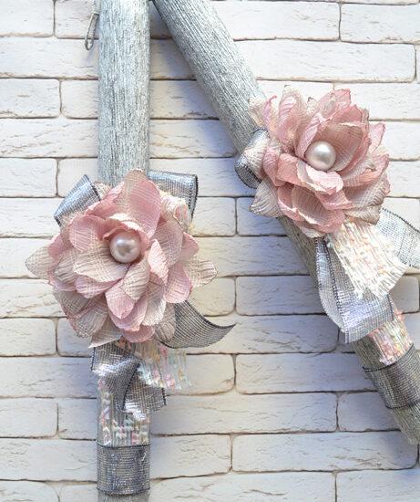 Λαμπάδα με υφασμάτινο λουλούδι