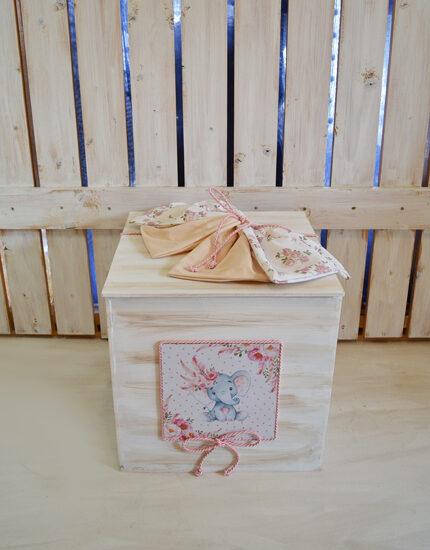 Κουτί ξύλινο ελεφαντάκι με λουλούδια