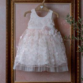Βαπτιστικό Φόρεμα με ροζ στρας