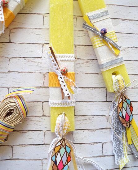 Λαμπάδα κίτρινη μοτίφ